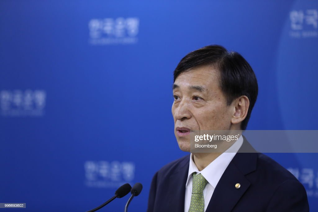 Lee Ju-yeol, governor of the Bank of Korea (BOK), speaks during a news conference in Seoul, South Korea, on Thursday, July 12, 2018. The central bank left its key interest rate unchanged amid a sharp rise in global trade tensions and slowing jobs growth in Asia's fourth-largest economy. Photographer: SeongJoon Cho/Bloomberg via Getty Images
