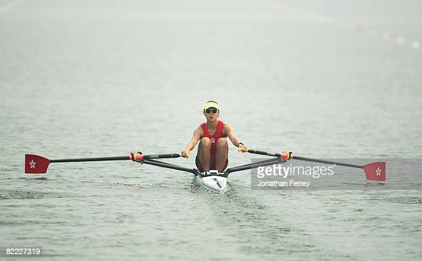 Lee Ka Man of Hong Kong China competes in the Women's Single Sculls Heat 2 held at Shunyi Olympic Rowing-Canoeing Park during Day 1 of the Beijing...