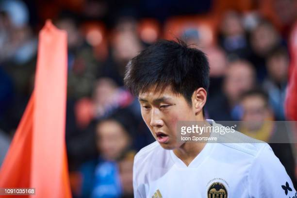 Lee Kangin midfielder of Valencia CF looks during the Copa del Rey match between Valencia CF and Getafe CF at Mestalla Stadium Perez stadium on...