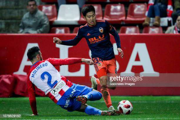 Lee KangIn of Valencia CF during the Spanish Copa del Rey match between Sporting Gijon v Valencia at the El Molinon on January 8 2019 in Gijon Spain