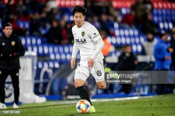 Lee KangIn of Valencia CF during the Spanish Copa del Rey match between Getafe v Valencia at the Coliseum Alfonso Perez on January 22 2019 in Getafte...