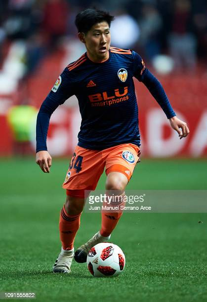 Lee KangIn of Valencia CF in action during the Copa del Rey Round of 16 match between Real Sporting Gijon and Valencia CF at El Molinon Stadium on...