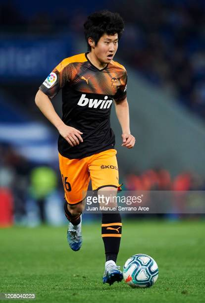 Lee KangIn of Valencia CF in action during the Liga match between Real Sociedad and Valencia CF at Estadio Anoeta on February 22 2020 in San...