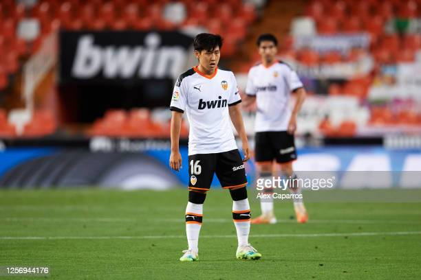 Lee KangIn of Valencia CF looks on during the Liga match between Valencia CF and RCD Espanyol at Estadio Mestalla on July 16 2020 in Valencia Spain