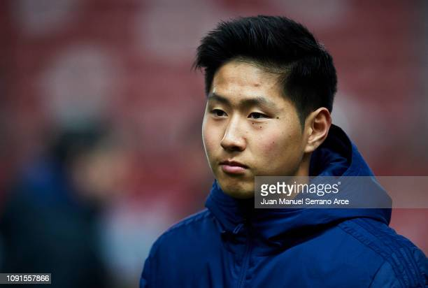 Lee KangIn of Valencia CF looks on prior to the start the Copa del Rey Round of 16 match between Real Sporting Gijon and Valencia CF at El Molinon...