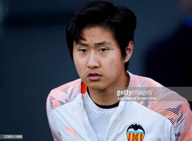 Lee KangIn of Valencia CF looks on prior to the start the La Liga match between Real Sociedad and Valencia CF at Estadio Anoeta on February 22 2020...