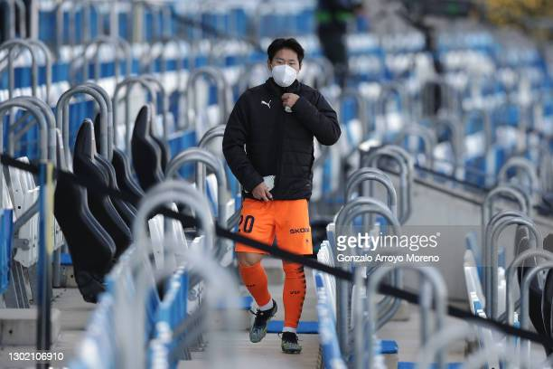 Lee Kang-In of Valencia CF walks through the stand prior to the La Liga Santander match between Real Madrid and Valencia CF at Estadio Alfredo Di...