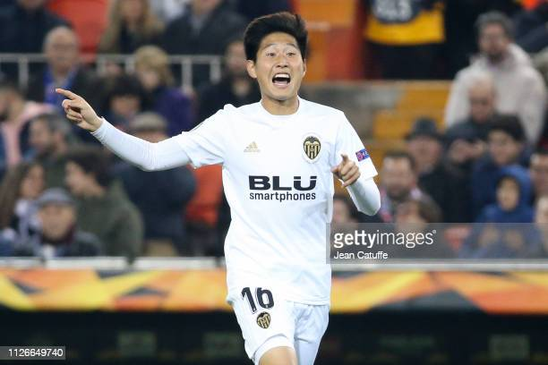 Lee Kangin of Valencia during the UEFA Europa League Round of 32 Second Leg match between Valencia FC and Celtic at Estadio Mestalla stadium on...