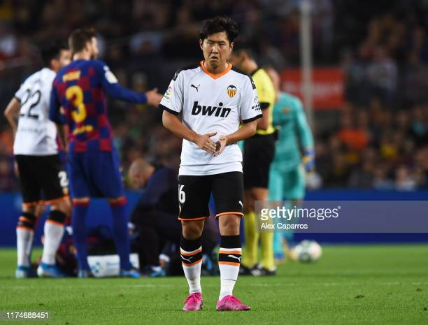 Lee Kang-In of Valencia looks on during the Liga match between FC Barcelona and Valencia CF at Camp Nou on September 14, 2019 in Barcelona, Spain.