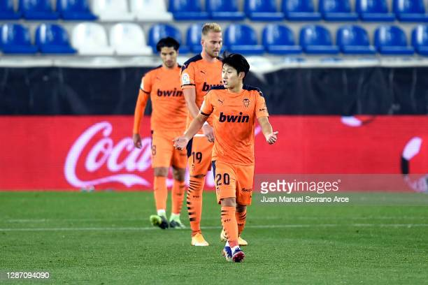 Lee Kang-In of Valencia reacts after conceding their team's second goal during the La Liga Santander match between Alaves and Valencia on November...