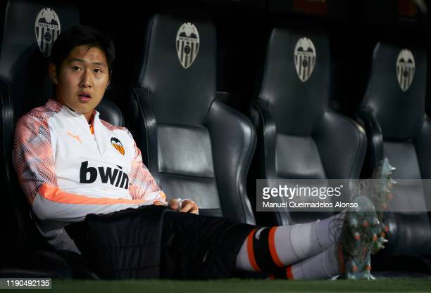 Lee Kangin of Valencia sits on the bench prior to the UEFA Champions League group H match between Valencia CF and Chelsea FC at Estadio Mestalla on...