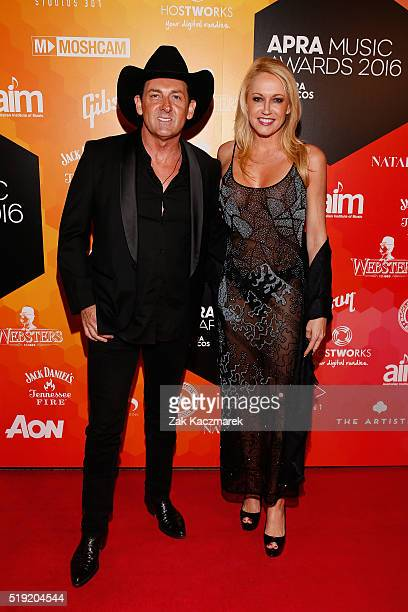 Lee Kernaghan and Robyn McKelvie attend the 2016 APRA Music Awards at Carriageworks on April 5 2016 in Sydney Australia