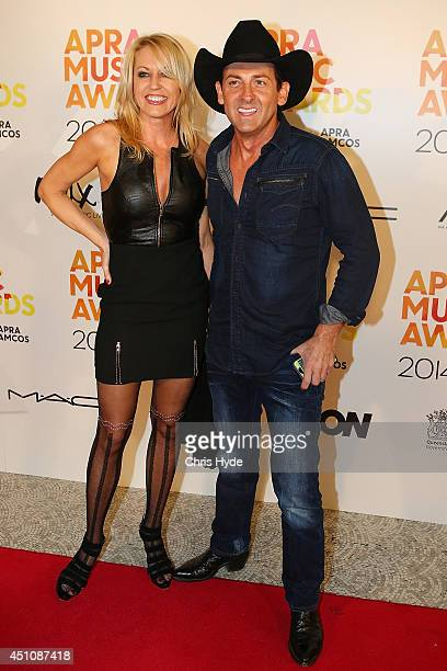 Lee Kernaghan and wife Robyn arrive at the APRA Awards at Brisbane City Hall on June 23 2014 in Brisbane Australia
