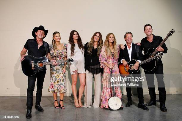 Lee Kernaghan The McCLymonts Kasey Chambers Troy CassarDaley and Adam Harvey pose backstage during the 2018 Toyota Golden Guitar Awards on January 27...