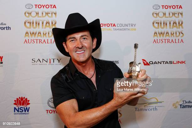 Lee Kernaghan wins the 'Sanity Top Selling Australian Album of the Year' during the 2018 Toyota Golden Guitar Awards on January 27, 2018 in Tamworth,...