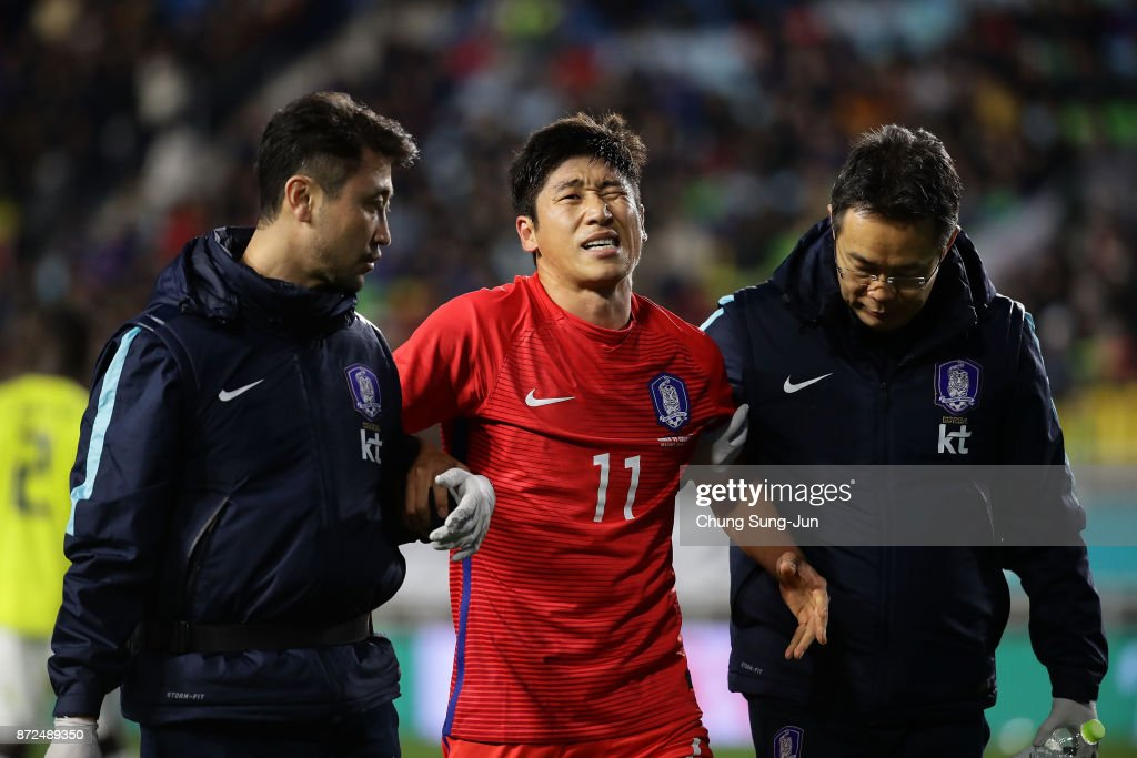 Lee Keun-Ho of South Korea injured during the international friendly match between South Korea and Colombia at Suwon World Cup Stadium on November 10, 2017 in Suwon, South Korea.
