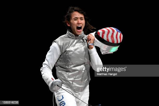 Lee Kiefer of Team United States celebrates after winning the Women's Foil Individual Fencing semifinal 2 against Larisa Korobeynikova of Team ROC on...