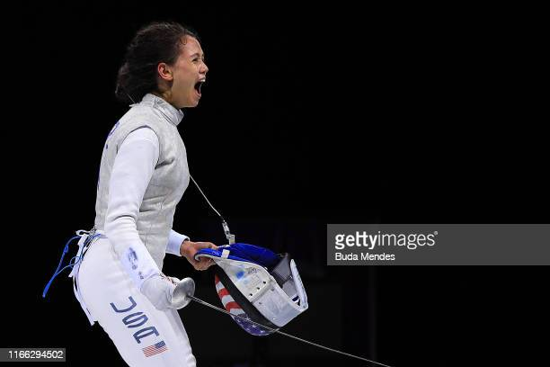 Lee Kiefer of United States celebrates after winning Women's Fencing Foil Individual Gold Medal Bout Day 10 of Lima 2019 Pan American Games at Lima...