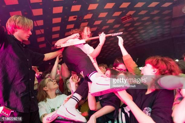 Lee Kiernan of Idles performs live at Barrowland Ballroom on December 2 2019 in Glasgow Scotland