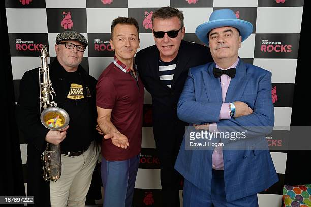 Lee Kix Thompson Daniel Woody Woodgate Graham Suggs McPherson and Chris Chrissy Boy Foreman of Madness pose with Pudsey Bear backstage during the...