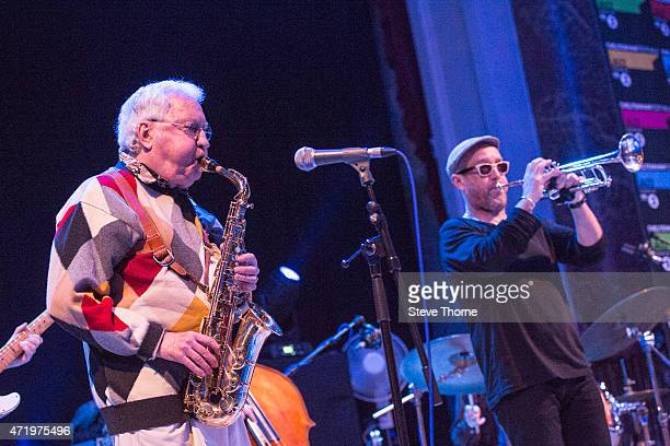 Lee Konitz and Dave Douglas perform on stage at the Cheltenham Jazz Festival on May 2 2015 in Cheltenham United Kingdom