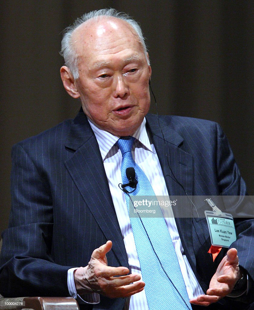 Lee Kuan Yew, minister mentor of Singapore, speaks at the 16th International Conference on The Future of Asia in Tokyo, Japan, on Thursday, May 20, 2010. The conference hosted by the Nikkei newspaper will be held through May 21. Photographer: Tomohiro Ohsumi/Bloomberg via Getty Images