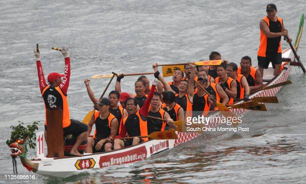 Lee Kum Kee dragon boat team celebrate after winning TECO Cup final during Stanley International Dragon Boat Championship 2012 at Stanley Main Beach...