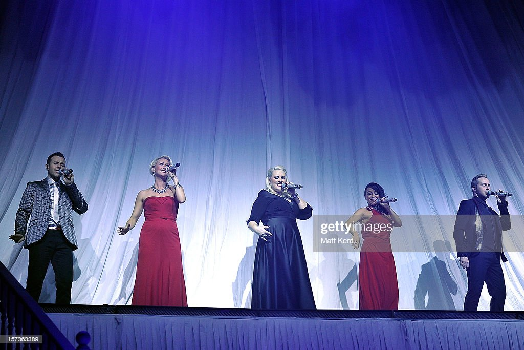 Lee Latchford-Evans, Faye Tozer, Claire Richards, Lisa Scott-Lee and Ian 'H' Watkins of Steps perform at London Palladium on December 2, 2012 in London, England.