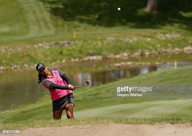 Lee Lopez chips to the first green during the final round of the Marathon Classic presented by Owens Corning and OI at Highland Meadows Golf Club on...