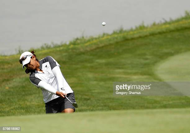 Lee Lopez chips to the first green during the third round of the Marathon Classic presented by Owens Corning and OI at Highland Meadows Golf Club on...