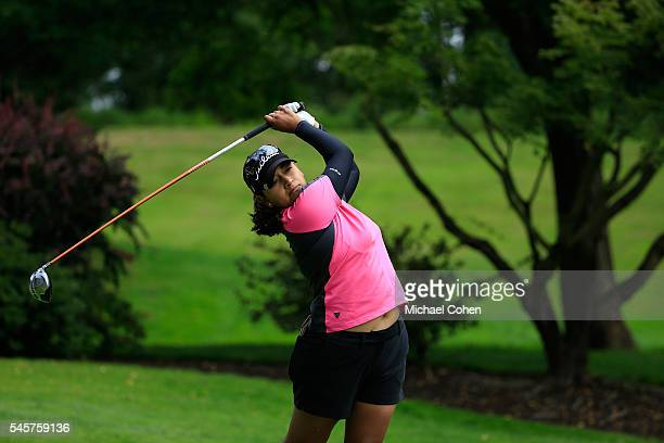 Lee Lopez hits her drive on the third hole during the fourth and final round of the Cambia Portland Classic held at Columbia Edgewater Country Club...