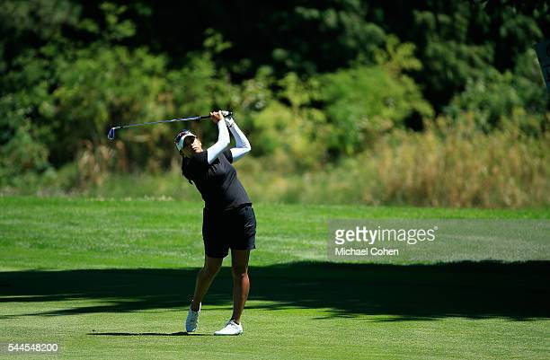 Lee Lopez hits her second shot on the 14th hole during the third round of the Cambia Portland Classic held at Coumbia Edgewater Country Club on July...