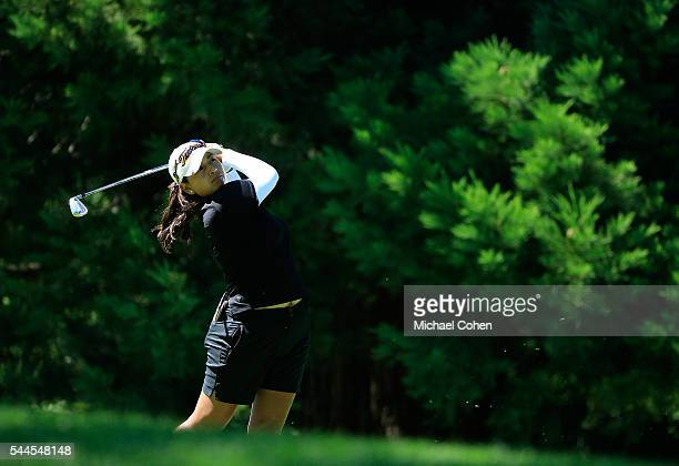Lee Lopez hits her second shot on the 17th hole during the third round of the Cambia Portland Classic held at Coumbia Edgewater Country Club on July...