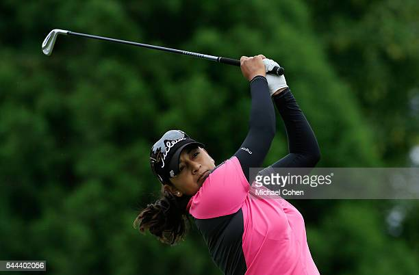 Lee Lopez hits her tee shot on the second hole during the fourth and final round of the Cambia Portland Classic held at Columbia Edgewater Country...