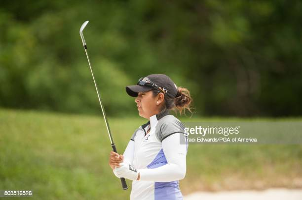 Lee Lopez of the United States watches her shot out of the bunker on the seventh hole during Round One for the 2017 KPMG WomenÕs PGA Championship...