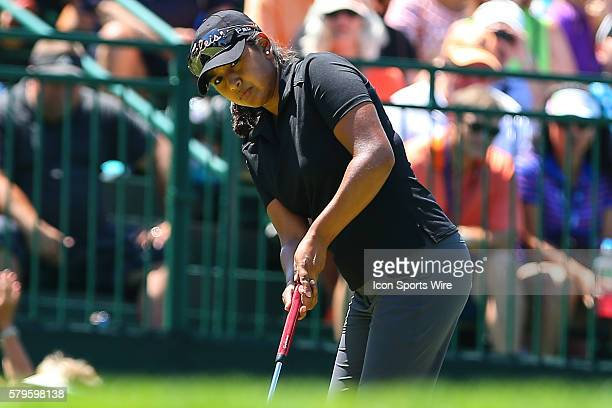 Lee Lopez of the USA watches her putt on the 9th hole during the third round of the 2015 US Womens Open played at Lancaster Country Club in Lancaster...