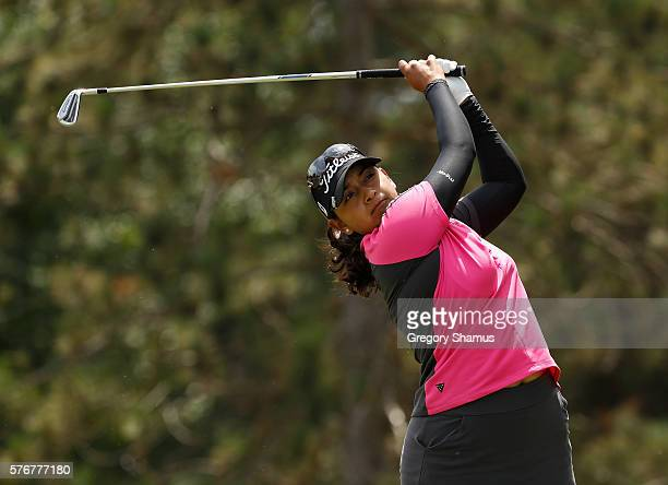 Lee Lopez watches her drive on the second hole during the final round of the Marathon Classic presented by Owens Corning and OI at Highland Meadows...