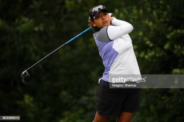Lee Lopez watches her tee shot on the 13th hole during the first round of the 2017 KPMG PGA Championship at Olympia Fields Country Club on June 28...