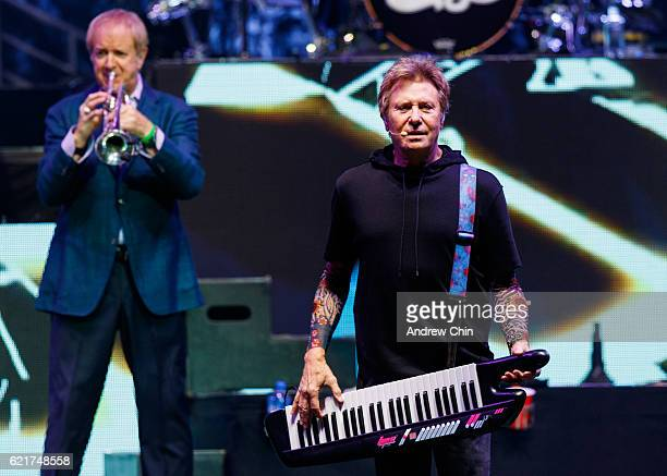 Lee Loughnane and Robert Lamm of rock band Chicago perform on stage at Rogers Arena on November 7 2016 in Vancouver Canada