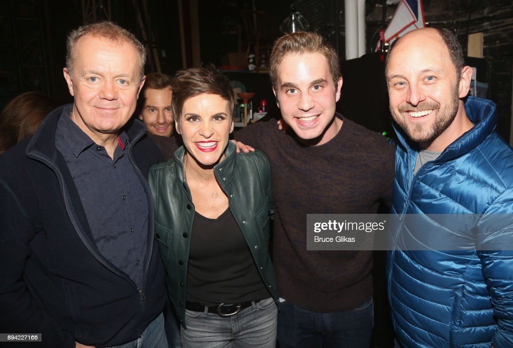 Lee MacDougall, Chad Kimball, Jenn Colella, Ben Platt and Geno Carr pose backstage at the hit musical 'Come From Away' on Broadway at The Schoenfeld Theater on December 16, 2017 in New York City.