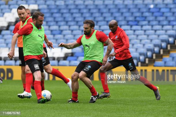 Lee Mack and Ant Middleton of England during a training session at Stamford Bridge ahead of Soccer Aid for Unicef on June 13 2019 in London England...