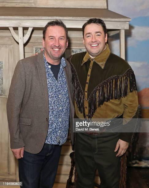 """Lee Mack and Jason Manford at the press night performance of """"Curtains: A Musical Whodunnit"""" at The Wyndham's Theatre on December 17, 2019 in London,..."""