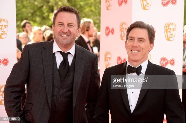 Lee Mack and Rob Brydon attend the Virgin TV British Academy Television Awards at The Royal Festival Hall on May 13 2018 in London England