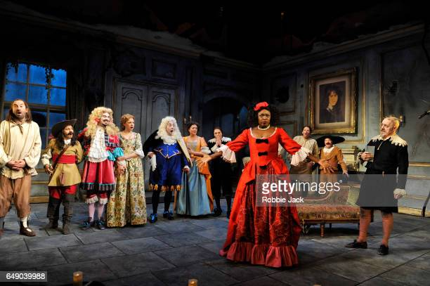 Lee Mack as Maitre Jacques Andi Osho as Frosine and Griff Rhys Jones as Harpagon with artists of the company in Sean Foley and Phil Porter's...
