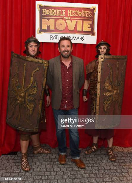 """Lee Mack attends the World Premiere of """"Horrible Histories: The Movie - Rotten Romans"""" at Odeon Luxe Leicester Square on July 6, 2019 in London,..."""