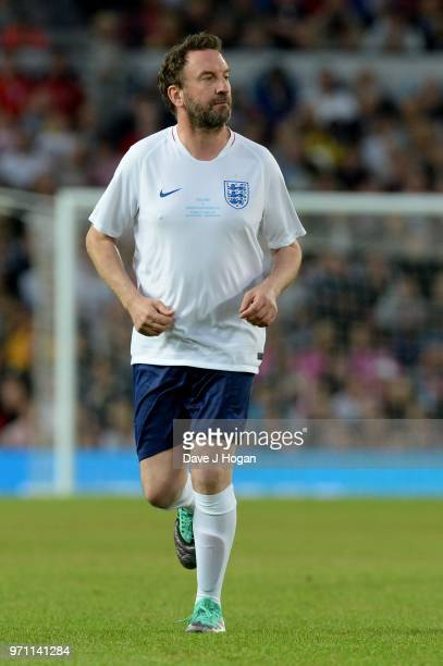 Lee Mack in action during Soccer Aid for Unicef 2018 at Old Trafford on June 10 2018 in Manchester England