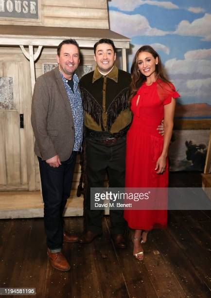 """Lee Mack, Jason Manford and Catherine Tyldesley at the press night performance of """"Curtains: A Musical Whodunnit"""" at The Wyndham's Theatre on..."""