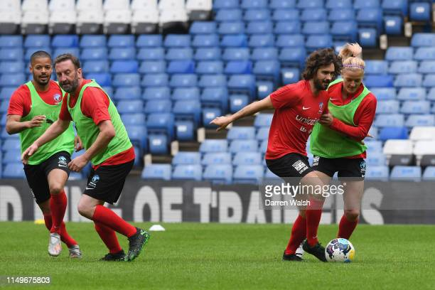 Lee Mack Joe Wicks and Katie Chapman of England during a training session at Stamford Bridge ahead of Soccer Aid for Unicef on June 13 2019 in London...
