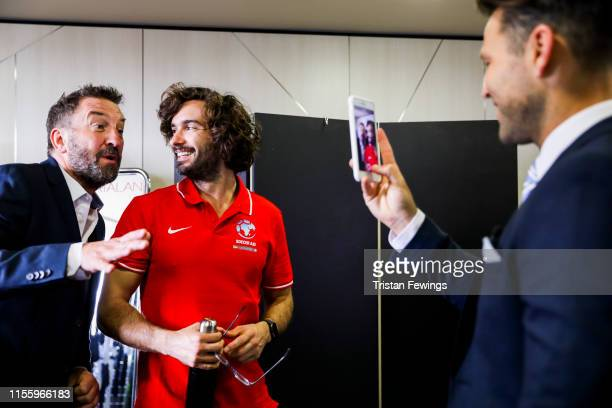 Lee Mack, Joe Wicks and Mark Wright attend the Matalan suit fitting for Soccer Aid at Chelsea Harbour Hotel on June 13, 2019 in London, England....