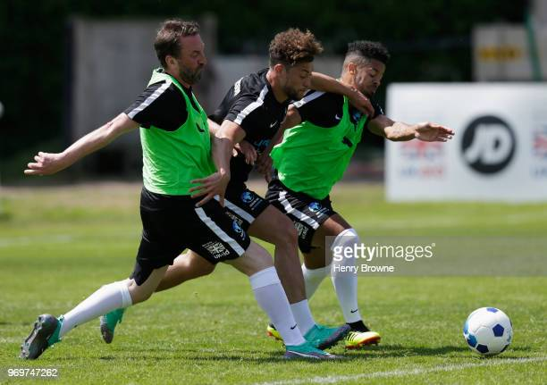 Lee Mack Myles Stephenson and Jeremy Lynch of England take part in training during Soccer Aid for UNICEF media access at Fulham FC training ground on...